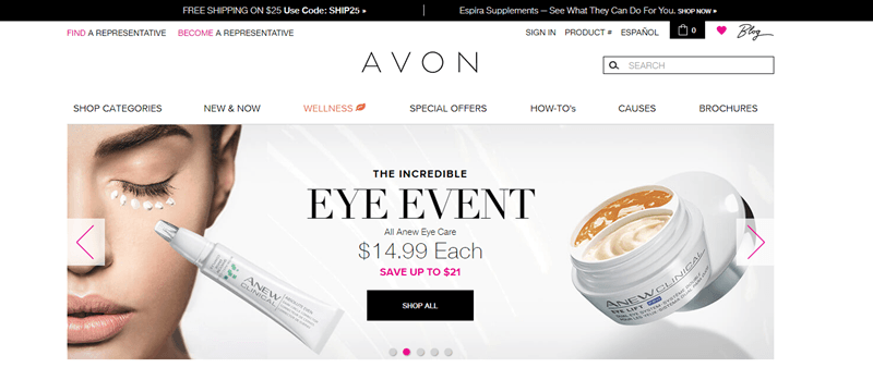 Avon website screenshot showing two of their Anew products, with one being applied under a woman's eye.