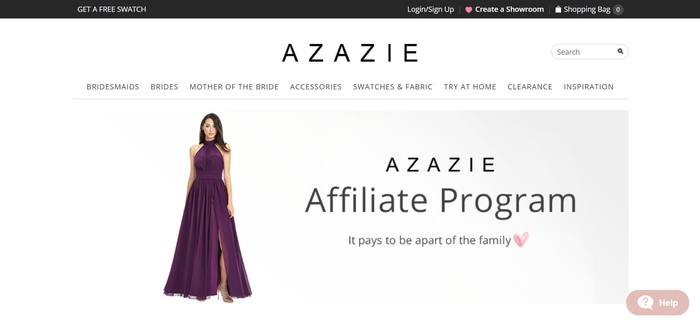 screenshot of the affiliate sign up page for Azazie