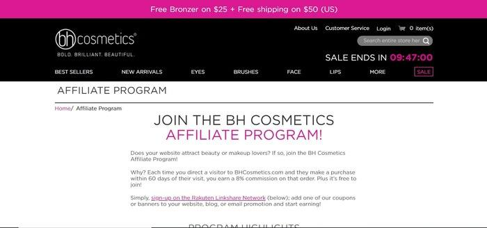screenshot of the affiliate sign up page for BH Cosmetics