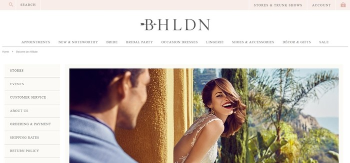 screenshot of the affiliate sign up page for BHLDN