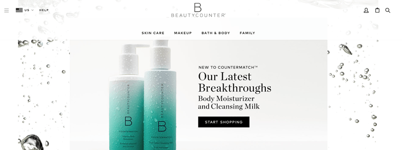BeautyCounter website screenshot showcasing two of their products, along with bubbles in the background.
