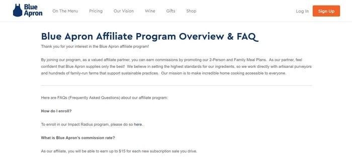 screenshot of the affiliate sign up page for Blue Apron