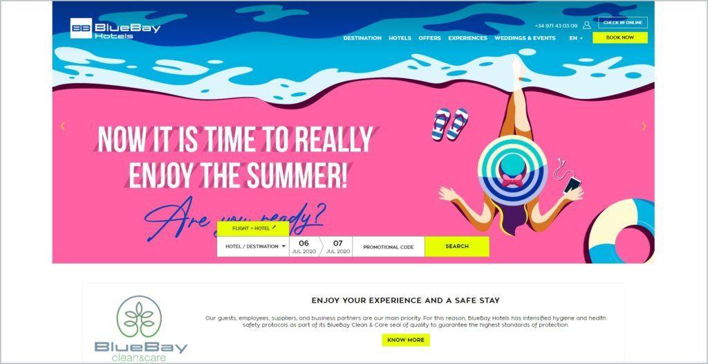 screenshot of Blue Bay Hotels web page