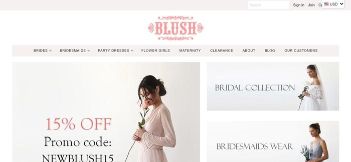 screenshot of the affiliate sign up page for Blushfashion