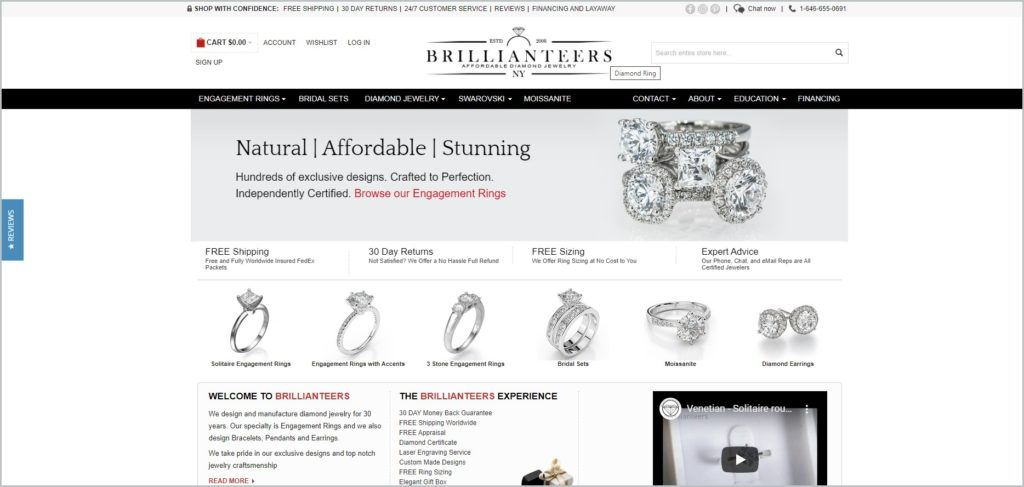 screenshot of Brillianteers web page