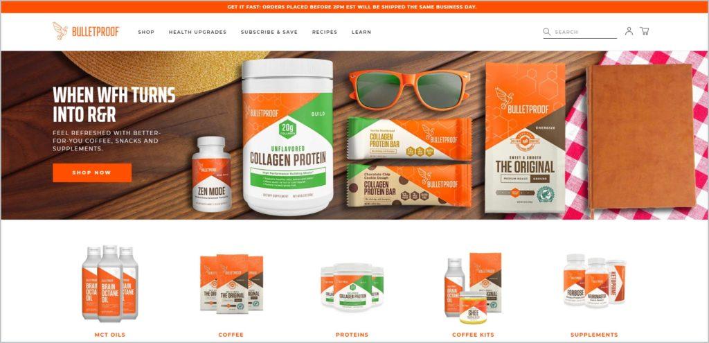 screenshot of Bulletproof web page