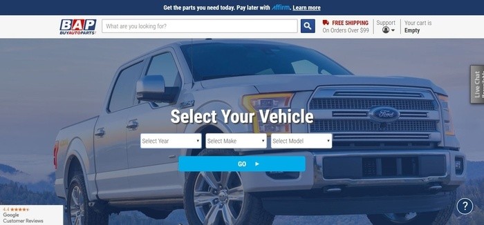 screenshot of the affiliate sign up page for BuyAutoParts.com
