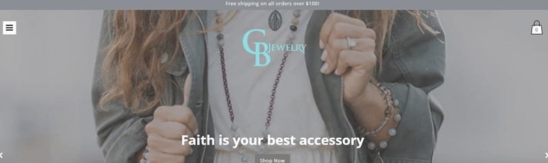 CB Jewelry website screenshot showing the torso of a woman who is wearing various pieces of jewelry from the company.