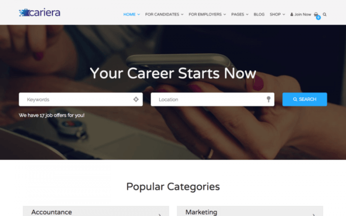 """The Cariera homepage with a search engine in the middle, a menu at the top, and a """"Popular Categories"""" section at the bottom."""