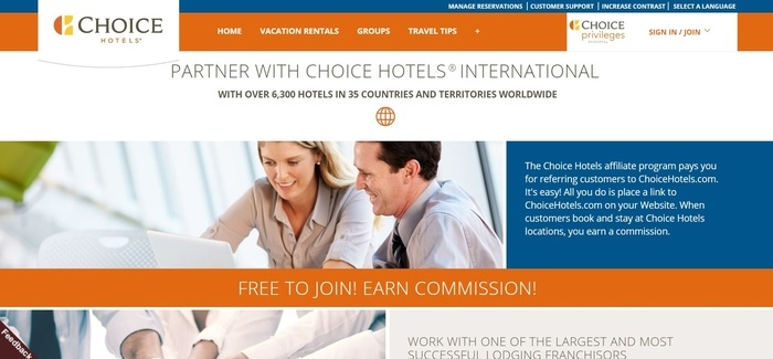 screenshot of the affiliate sign up page for Choice Hotels