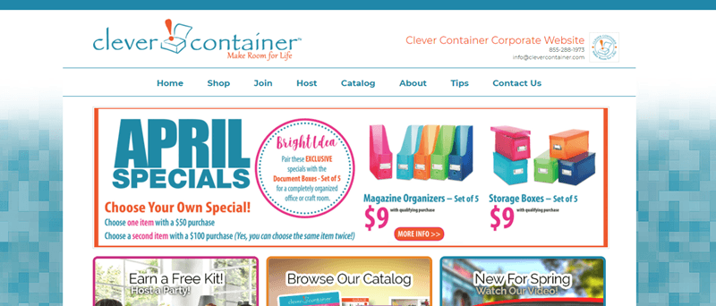 Clever Container website screenshot highlighting their April specials, which include storage boxes and magazine organizers.