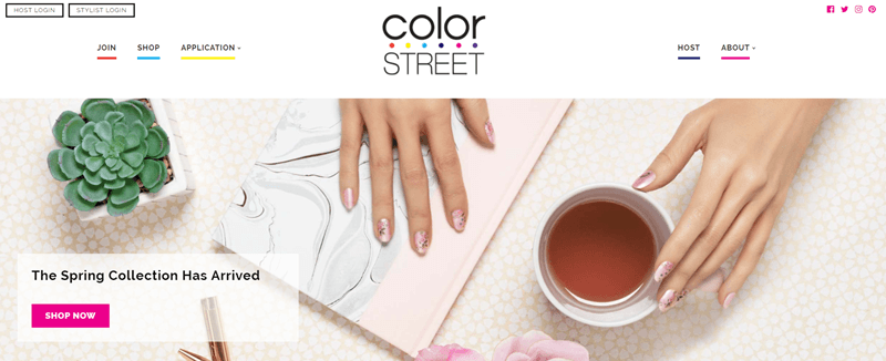 Color Street website screenshot showing a pair of hands on a table with a journal, cup of tea and plant.
