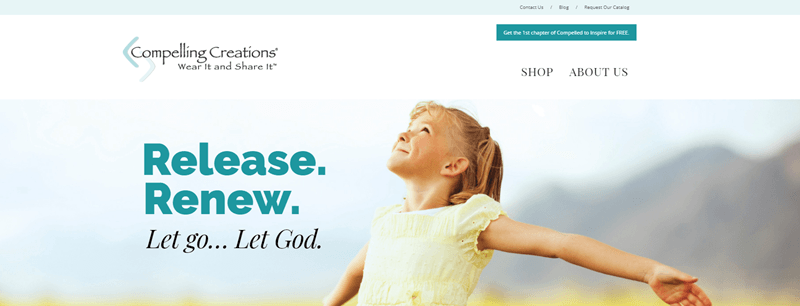 Compelling Creations website screenshot showing a young girl with her arms spread looking up at the sky.