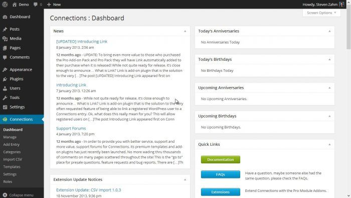 The Connections plugin's dashboard displaying news and updates about the plugin in a widget, and next to it are smaller widgets for upcoming events (anniversaries and birthdays). At the bottom-right is a Quick Links widget, which shows links for documentation, FAQs and extensions.