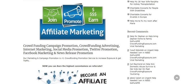 screenshot of the affiliate sign up page for Crowd Funding Exposure