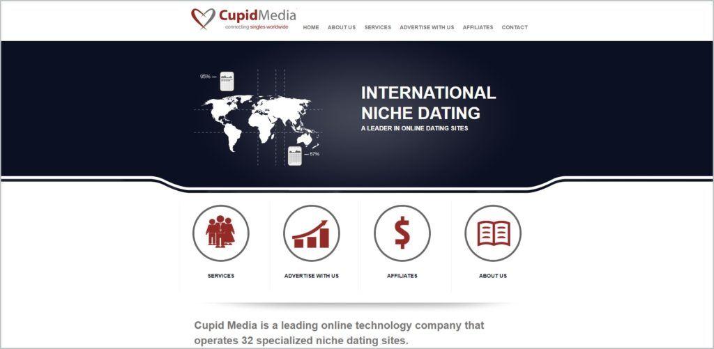 screenshot of Cupid Media web page