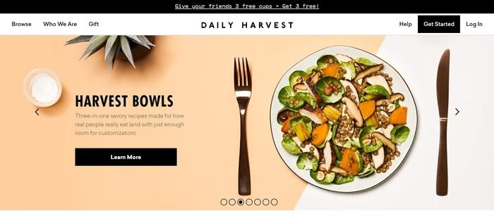 screenshot of the affiliate sign up page for Daily Harvest