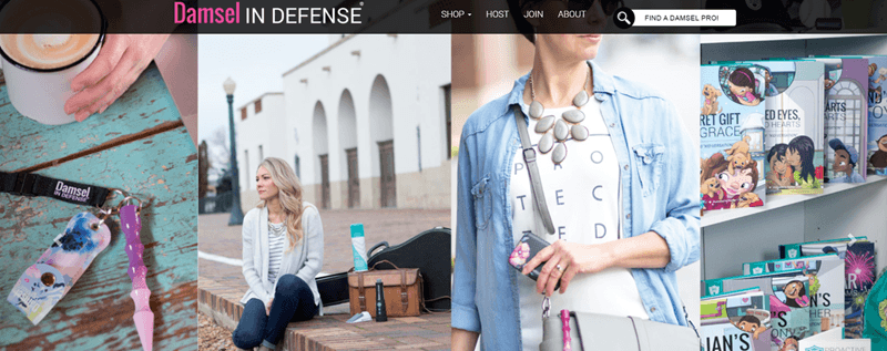 Damsel in Defense website screenshot showing four different images filled with products from the company.