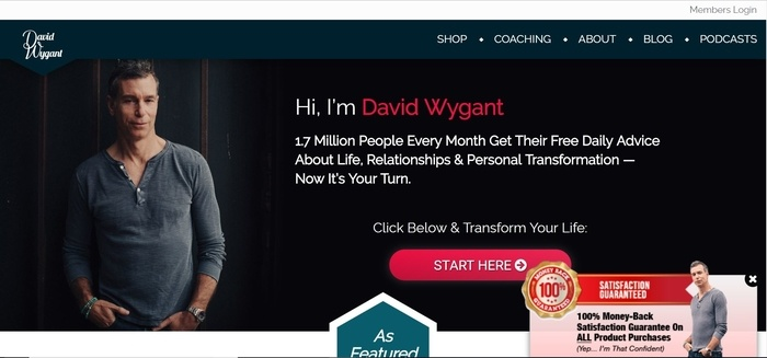 screenshot of the affiliate sign up page for David Wygant