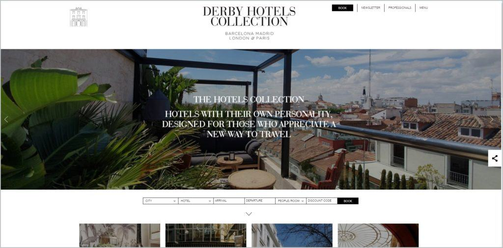 screenshot of Derby Hotels Collection web page