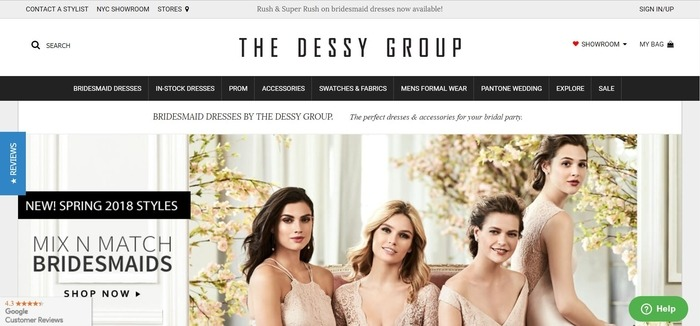 screenshot of the affiliate sign up page for Dessy