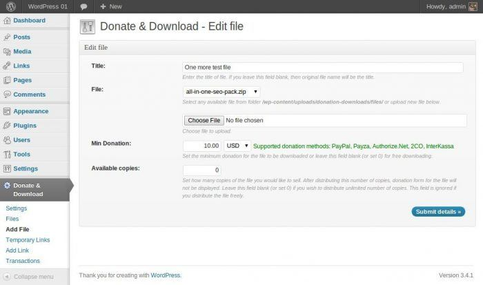 The plugin's tab inside the WordPress dashboard. The admin is submitting a file to be locked to donors, and at the bottom there is a field for the minimum donation amount and the number of copies to be made available for each donor.
