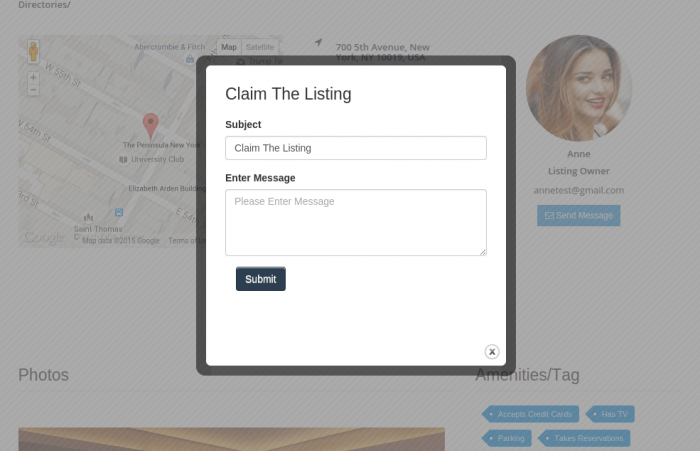 """A listing claim request box. The request form shows a subject field and another for the message followed by a """"Submit"""" button."""