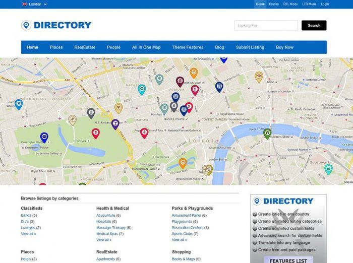 The Directory theme homepage. Below the header there is a menu, then a map with markers for each listing. At the bottom are the website's navigation links.