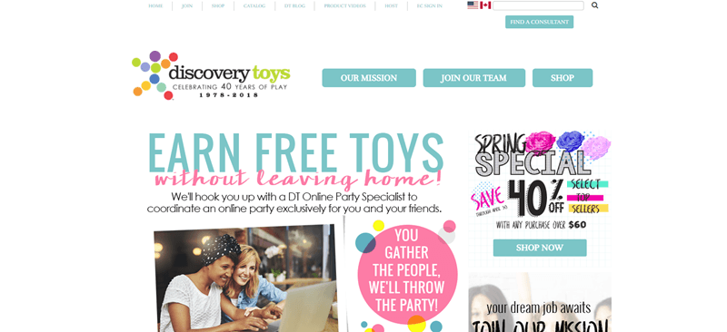 Discovery Toys website screenshot showing a magazine-like style homepage.