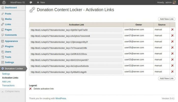 The Donation Locker tab inside the WordPress dashboard. The page shows the activation links that you send out to donors after they send their money in order to allow them to view your content. Each link shows the name of the donor to whom it was issued.