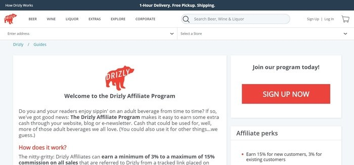 screenshot of the affiliate sign up page for Drizly
