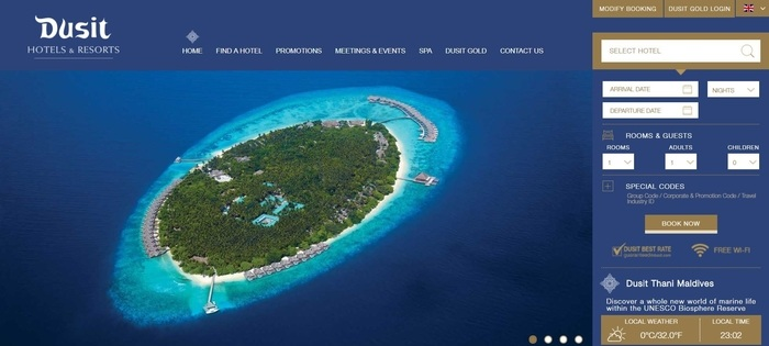 screenshot of the affiliate sign up page for Dusit International