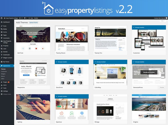 The WordPress dashboard showing a grid of the themes provided by the Easy Property Listings plugin.