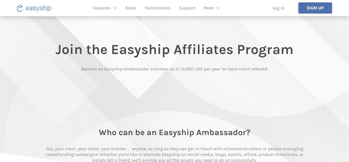 screenshot of the affiliate sign up page for Easyship