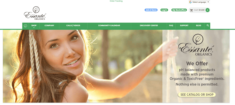 Essante Organics website screenshot showing a young brunette girl sitting on a swing and smiling.