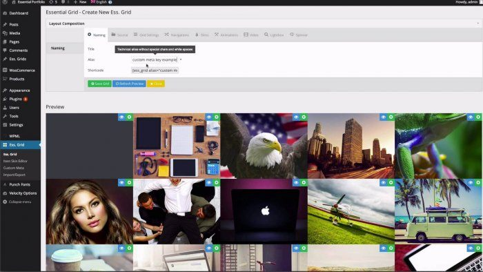 A preview of a group of images and videos seen from inside the WordPress dashboard through the Essential Grid plugin.