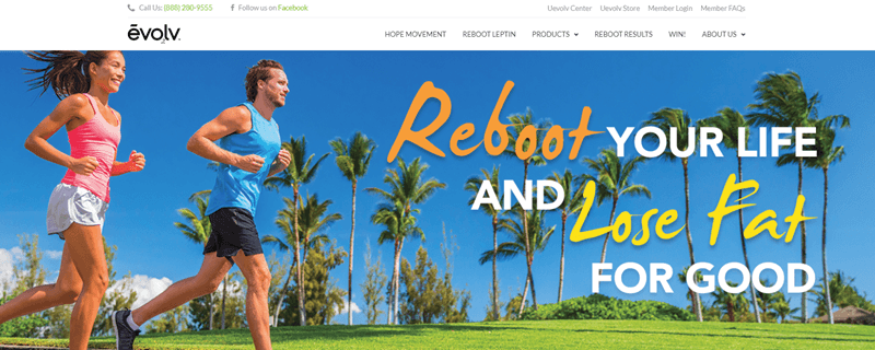 Evolv Health website screenshot showing a young couple running outside with palm trees and green grass in the background.
