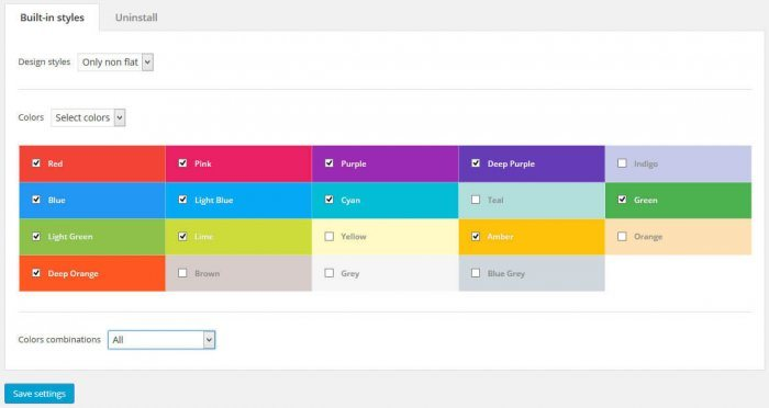 The styling tab inside the Flexible Mega Menu interface. The tab shows the plugin's color options with checkboxes to select the colors.