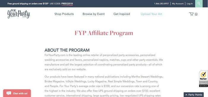 screenshot of the affiliate sign up page for ForYourParty.com