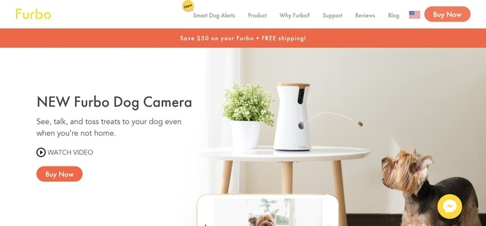 screenshot of the affiliate sign up page for Furbo Dog Camera