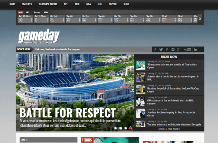 The Gameday homepage with a menu at the top, then a scoreboard, and a newsfeed shifting among headlines with the featured image for the current headline displayed next at the center.