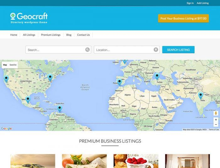 The Geocraft homepage showing a world map with a search engine at the top. Below the map are the premium listings.