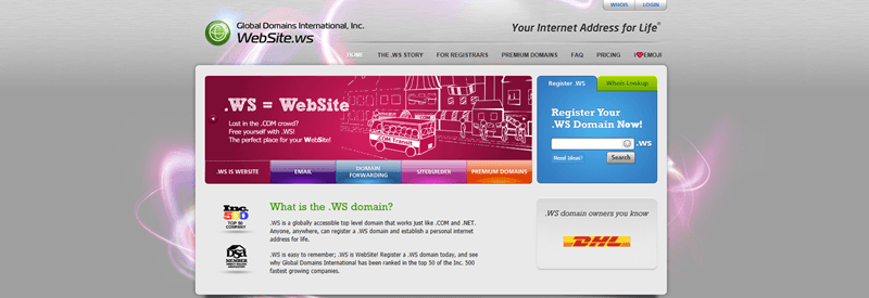 Global Domains International website screenshot showing details about the .ws domain, along with various links to other parts of the site.