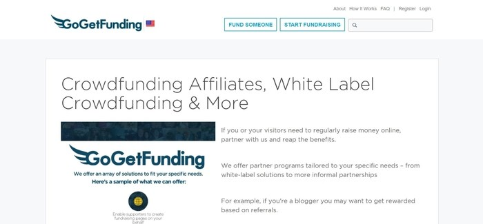 screenshot of the affiliate sign up page for GoGetFunding