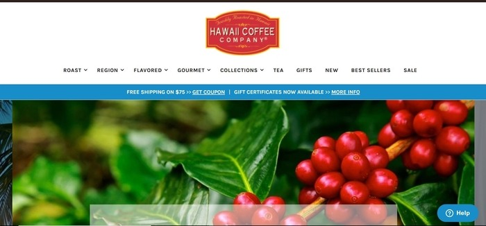 screenshot of the affiliate sign up page for Hawaii Coffee Company