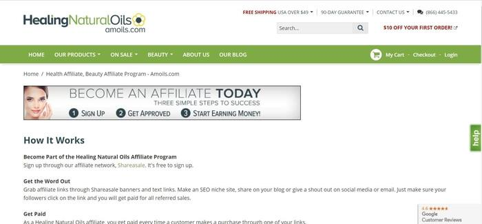 screenshot of the affiliate sign up page for Healing Natural Oils