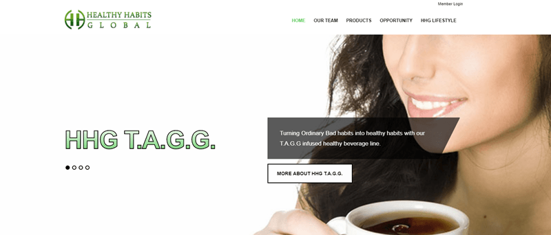 Healthy Habits Global website screenshot showing a young woman drinking coffee and the words HHG T.A.G.G.
