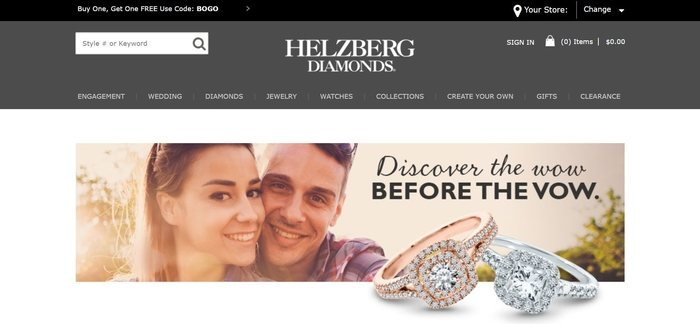 screenshot of the affiliate sign up page for Helzberg Diamonds