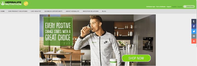 Herbalife website screenshot featuring an athletic man drinking a chocolate Herbalife shake.