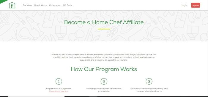 screenshot of the affiliate sign up page for Home Chef